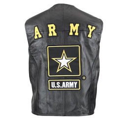 Army Officially Licensed Black Leather Motorcycle Vest