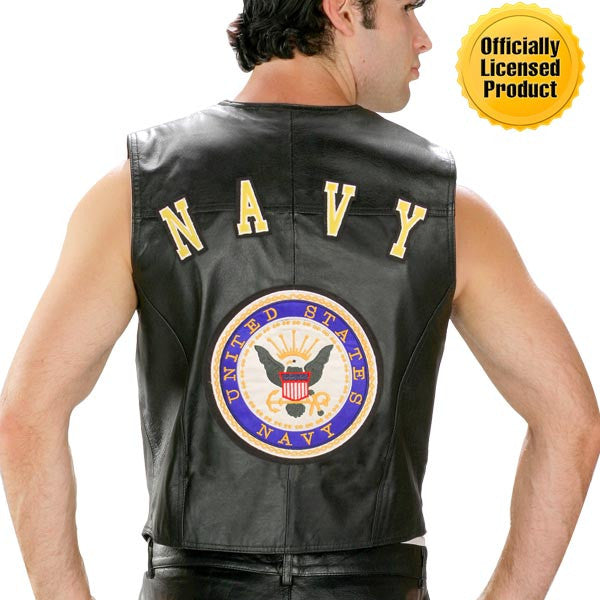 Navy Officially Licensed Black Leather Motorcycle Vest - Star Spangled 1776