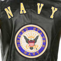 Navy Officially Licensed Leather Motorcycle Vest- Black - Star Spangled LLC