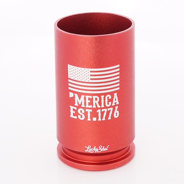 'Merica Spirit Shot Glass- 30mm A-10- Red - Star Spangled 1776
