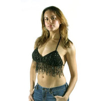 Women's Black Studded Halter Top with Fringes (904) - Star Spangled LLC