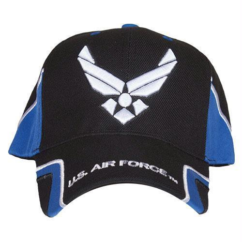 Air Force Black/Royal Blue Force Military Embroidered Ball Cap