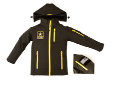 Army Embroidered Softshell Youth Jacket- Black & Gold