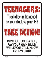 Teenagers Take Action 9 X 12 Metal Parking Sign