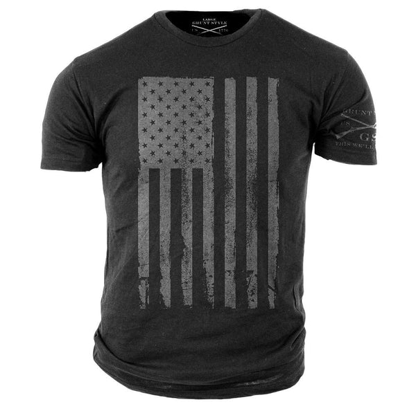 America T-Shirt Grey- Grunt Style Military Men's Graphic Tee Shirt - Star Spangled 1776