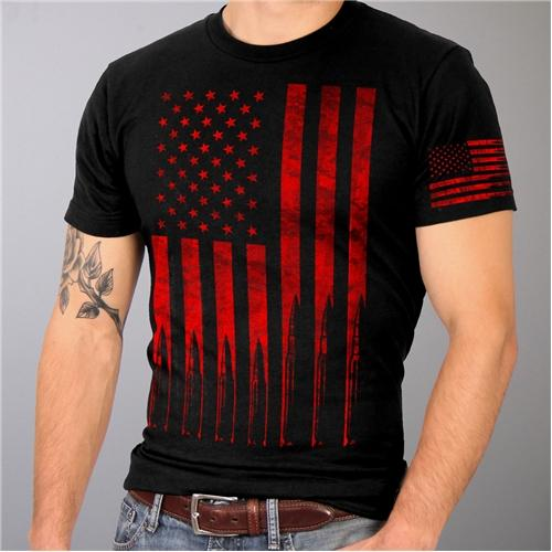 American Flag Bullets Cotton T-Shirt Black