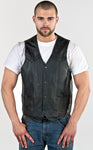 Men's Plain Black Leather Vest - Star Spangled LLC