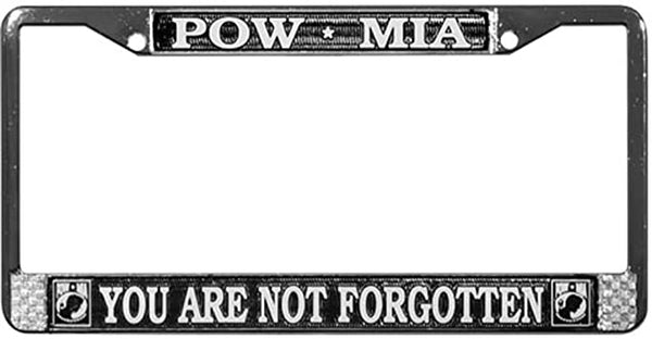 POW MIA You Are Not Forgotten Chrome License Plate Frame