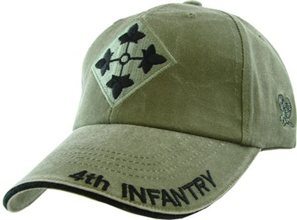 4th Infantry Division OD Embroidered Military Baseball Cap - Star Spangled 1776