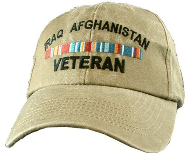 Iraq Afghanistan Veteran Khaki Military Baseball Cap - Star Spangled 1776