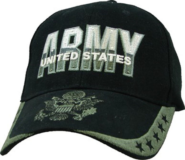 US Army 5 Star Black Embroidered Military Baseball Cap - Star Spangled 1776