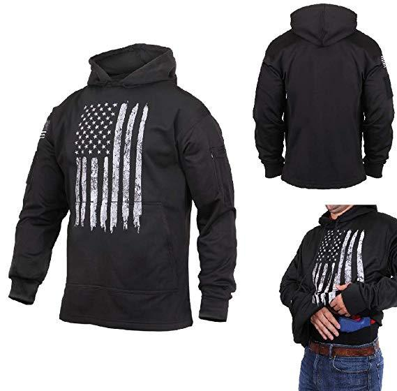 Distressed US Flag Concealed Carry Hooded Sweatshirt