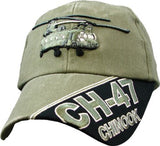 Chinook Helicopter CH-47 OD Embroidered Military Baseball Caps - Star Spangled 1776