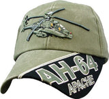Apache Helicopter AH-64 OD Embroidered Military Baseball Cap - Star Spangled 1776