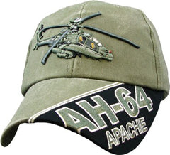 Apache Helicopter AH-64 OD Embroidered Military Baseball Cap