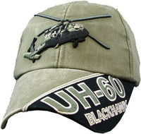 Blackhawk UH-60 Helicopter OD Embroidered Military Baseball Cap - Star Spangled 1776