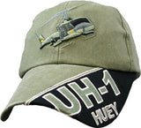 Huey UH-1 Helicopter OD Embroidered Military Baseball Cap - Star Spangled 1776