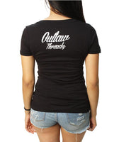 American Proud T-Shirt- Outlaw Threadz Women's V-Neck Tee Shirt Black