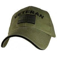 Veteran with American Flag OD Embroidered Military Baseball Cap - Star Spangled 1776