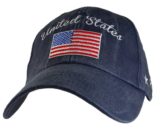 United States American Flag Blue Embroidered Military Baseball Cap - Star Spangled 1776