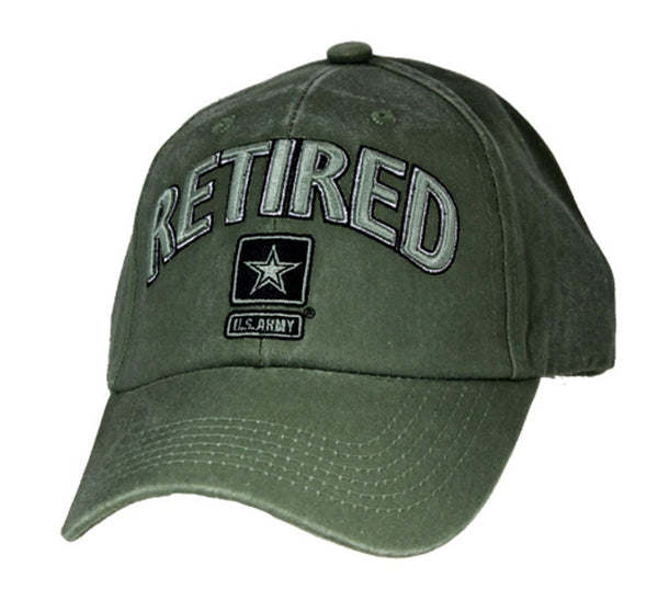 US Army Retired with Star Logo OD Embroidered Baseball Cap - Star Spangled 1776