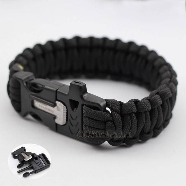 Paracord Survival Bracelet With Fire Starter Flint and Mini Knife- Black