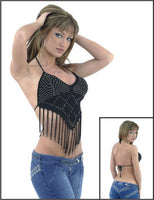 Women's Open-Back Mid-Waist V Cut Woven Halter Top with Silver Studs (915) - Star Spangled LLC