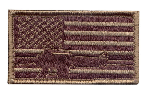 Subdued Flag Rifle Embroidered Hook Back Patch