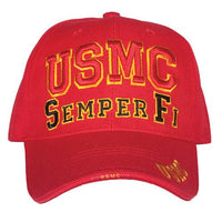 USMC Marine Corps High Def Embroidered Military Ball Cap- Red