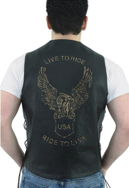 Men's Retro Brown Leather Vest With USA Eagle Embossed - Star Spangled LLC