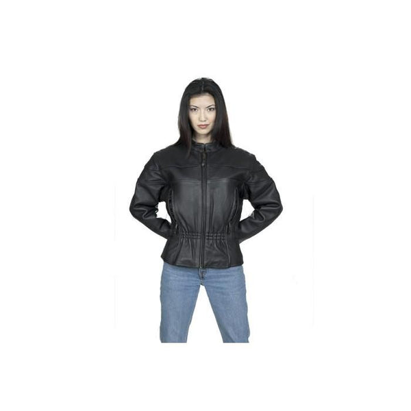Women's Racer Top Grade Leather Jacket With Gathered Waist- Black