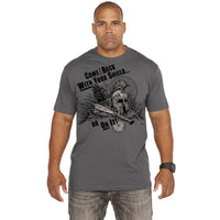 With Your Shield T-Shirt- 7.62 Design Graphic Grey Military Tee Shirt - Star Spangled 1776