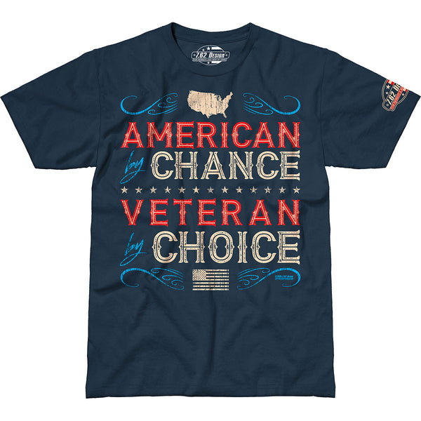 Veteran By Choice T-Shirt- 7.62 Design Men's Dark Blue Tee Shirt - Star Spangled 1776