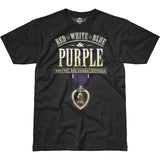 Combat Wounded Purple T-Shirt- 7.62 Design Black Graphic Military Tee Shirt