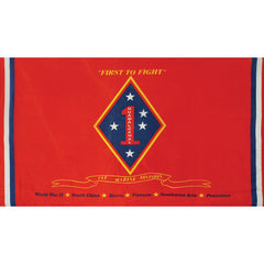First Marine Division Polyester 3 X 5 Military Flag- Red