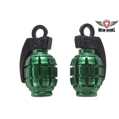 Metallic Green Grenades Valve Caps (2 Pk)
