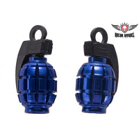 Metallic Blue Grenade Valve Caps (2 Pk) - Star Spangled 1776