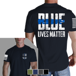 Blue Lives Matter T-Shirt - Nine Line LEO Black Men's Graphic Tee Shirt - Star Spangled 1776