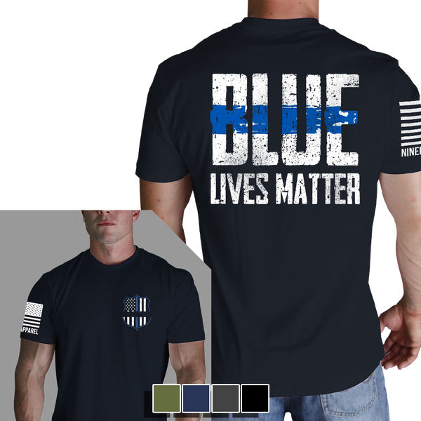 Blue Lives Matter T-Shirt - Nine Line LEO Black Men's Graphic Tee Shirt - Star Spangled LLC