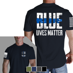 Blue Lives Matter T-Shirt - Nine Line LEO Black Men's Graphic Tee Shirt