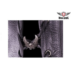 Soaring Eagle Motorcycle Vest Side Lace Up Charms