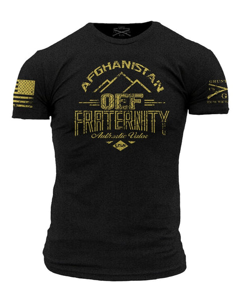 OEF Fraternity T-Shirt- Grunt Style Military Graphic Tee Shirt - Star Spangled 1776