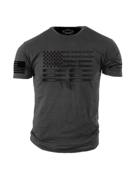 Ammo Flag T-Shirt Grey- Grunt Style Men's Graphic Military Tee Shirt - Star Spangled 1776