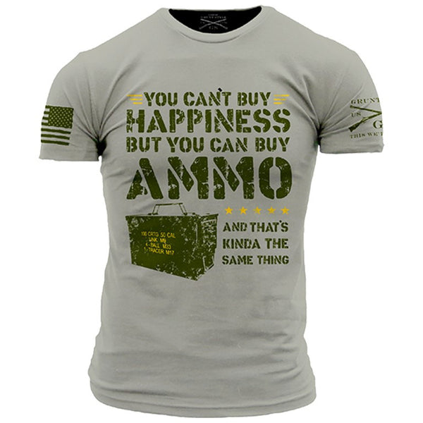 c69b2739c74 Ammo Is Happiness T-Shirt - Grunt Style Military Men s Grey Tee Shirt - Star