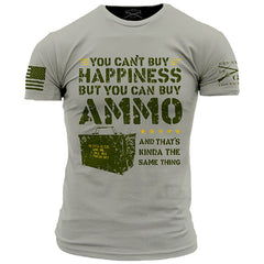 Ammo Is Happiness T-Shirt - Grunt Style Military Men's Grey Tee Shirt