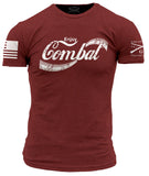 Enjoy Combat T-Shirt - Grunt Style Military Men's Burgundy Tee Shirt - Star Spangled 1776