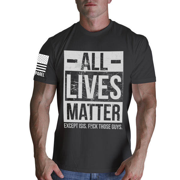 All Lives Matter Grey T-Shirt- Nine Line Short Sleeve Graphic Tee Shirt - Star Spangled 1776