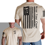 Distressed Flag T-Shirt- Nine Line Men's Short Sleeve Tee Shirt - Star Spangled 1776