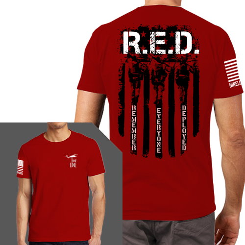 Remember Everyone Deployed T-Shirt- Nine Line Men's Tee Shirt Red - Star Spangled LLC
