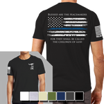 Thin Blue Line Black T-Shirt- Nine Line Men's Short Sleeve Tee Shirt - Star Spangled 1776